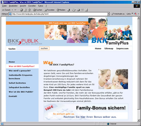 Screenshot vom Internetauftritt der BKK Family Plus