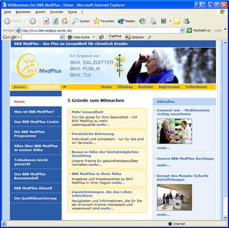 """Screenshot des Internetauftritt """"BKK MedPlus"""""""