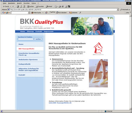Screenshot Onlinepräsenz www.bkk-quality-plus.de