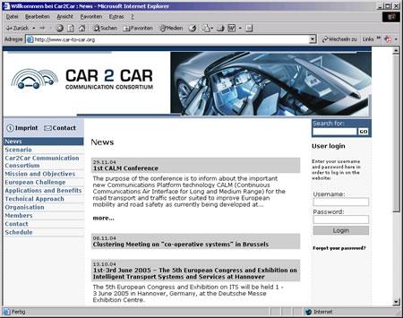 Screenshot Car-to-Car Communication Internetauftritt