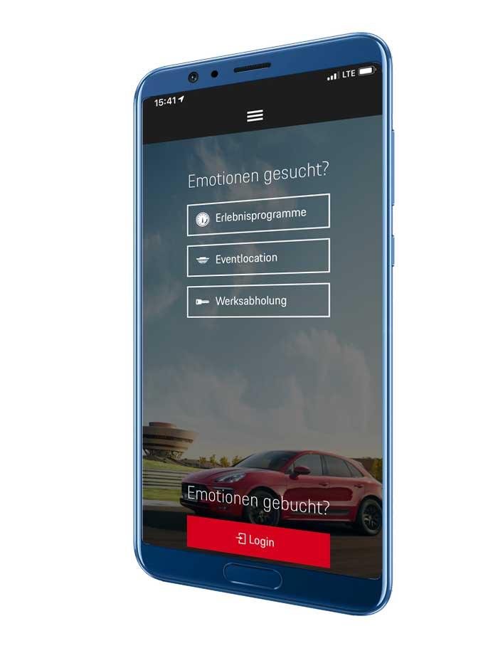 Smartphone mit Screen der Porsche-Leipzig-APP