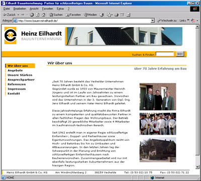 """Screenshot Internetauftritt """"Heinz Eilhardt GmbH & Co. KG"""""""