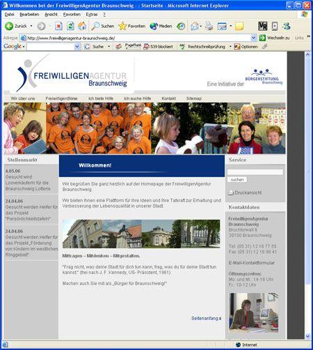 Screenshot Internetauftritt Freiwilligenagentur Braunschweig