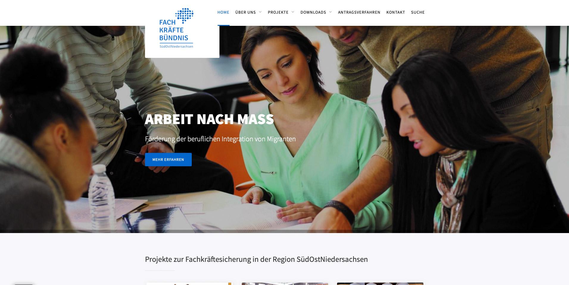 Screenshot der Website www.fachkräftebündnis-son.de