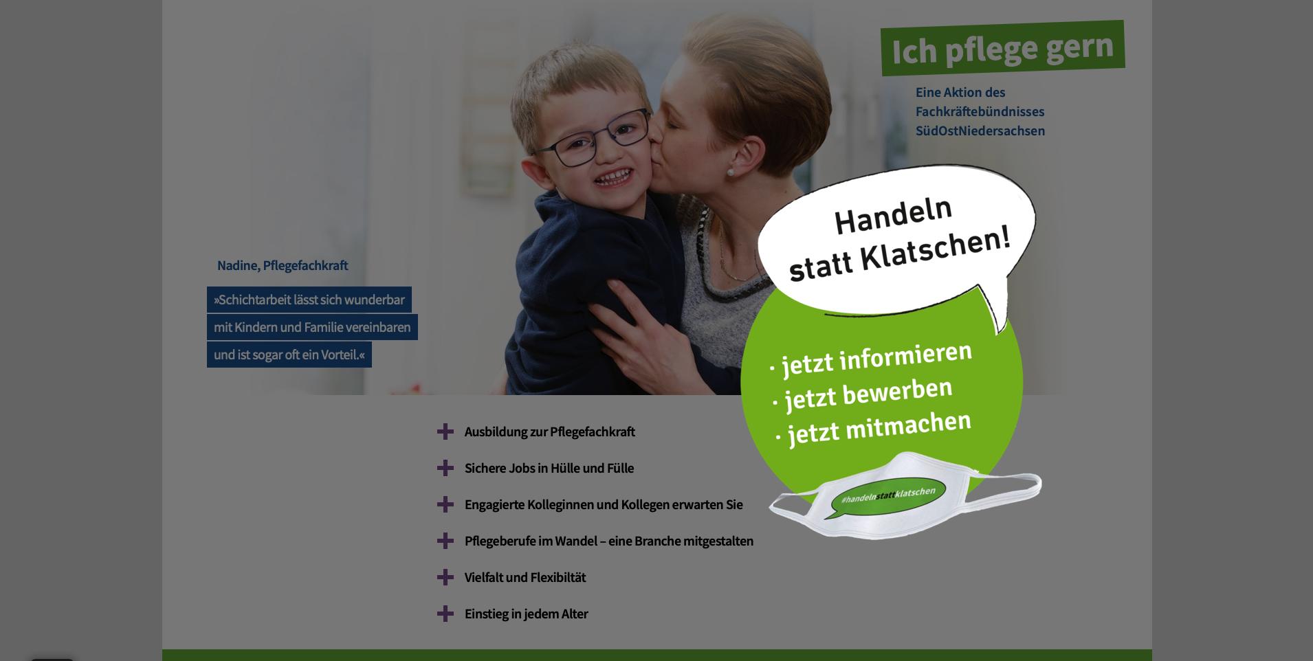 Screenshot der Startseite www.ich-pflege-gern.de