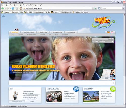 Screenshot Heide Park Resort Website