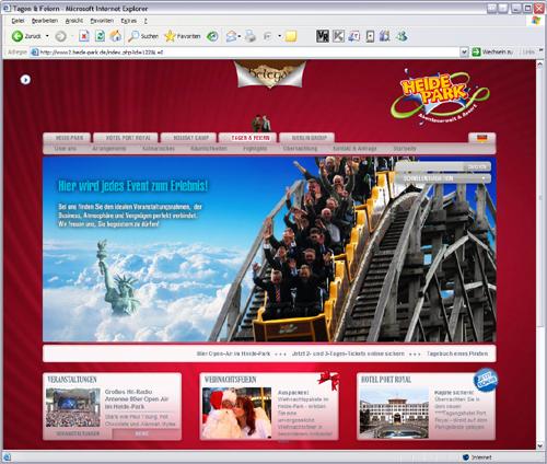 Screenshot der Tagen & Feiern-Website des Heide Parks