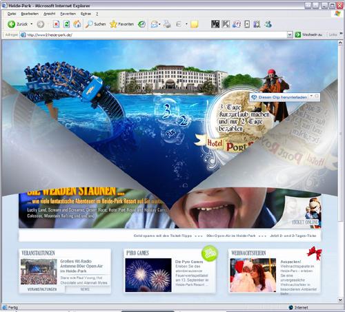Screenshot Heide Park Soltau Startseite