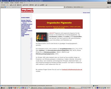 Screenshot Internetauftritt der Heubach GmbH