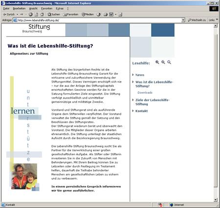 Screenshot Internetauftritt Lebenshilfe Stiftung Braunschweig