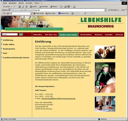 Screenshot der Lebenshilfe Stiftung Braunschweig Internetseite