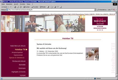 Screenshot Internetauftritt Mercure Hotel Atrium Braunschweig