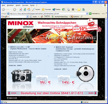 Screenshot MINOX Flash-Site