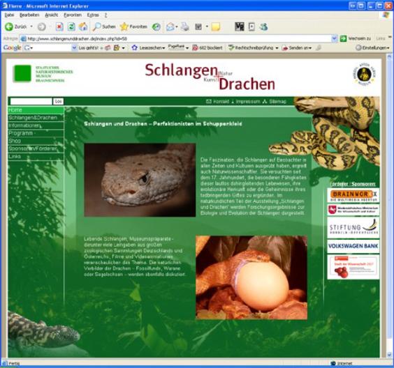 """Screenshot Website """"Schlangen und Drachen. Kunst und Natur"""""""