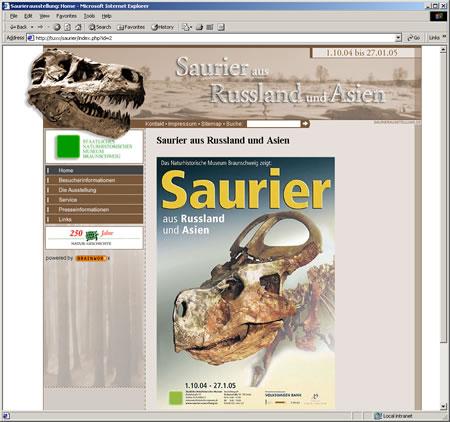 """Screenshot der Website """"Saurier aus Russland und Asien"""""""