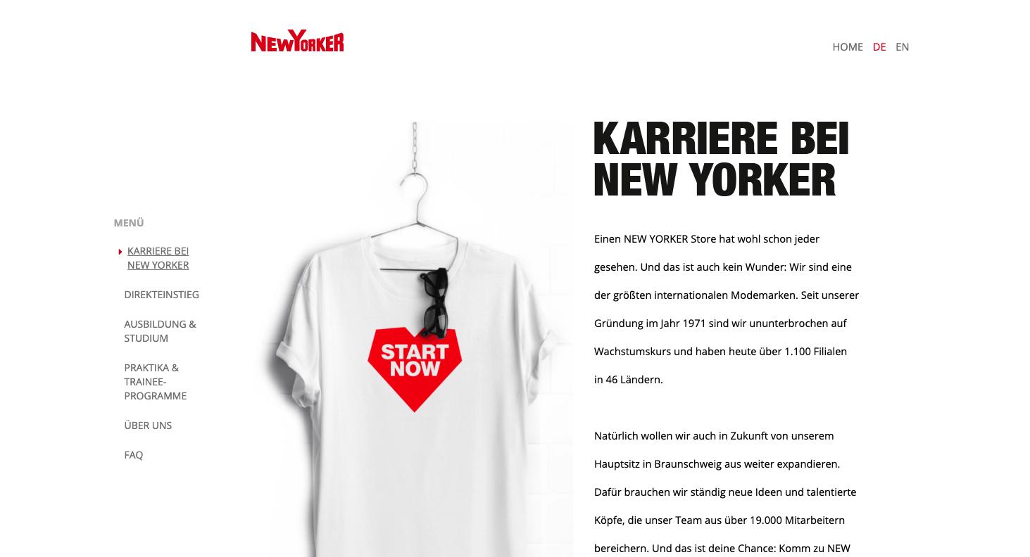 Screenshot NewYorker Jobportal