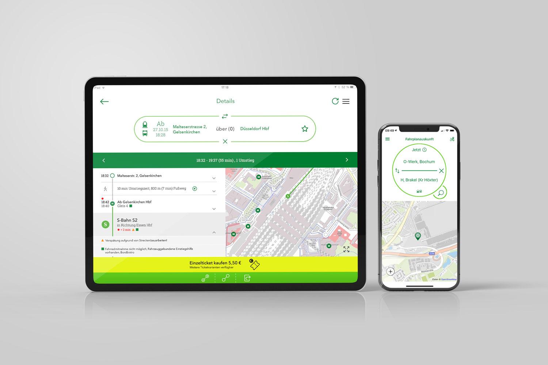 Tablet und Smartphone mit Screen der VRR-APP