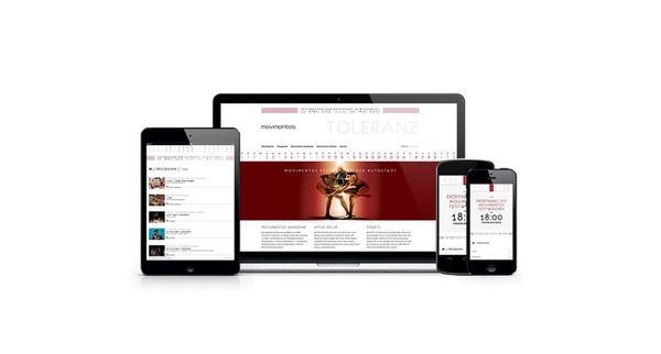 Bilder von Laptop, Smarthone und Tablet mit Abbildungen aus der Movimentos Festwochen Website auf dem Bildschirm