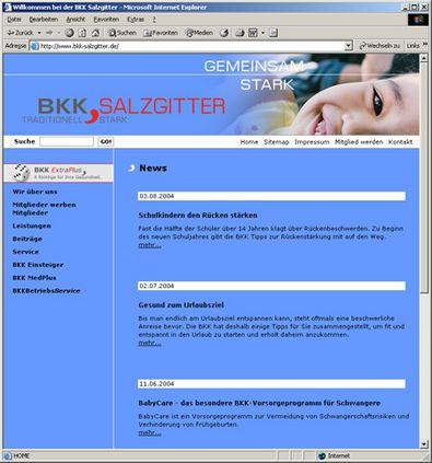 Screenshot 2 vom Internetauftritt der BKK Salzgitter