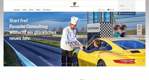 Screenshot der Startseite von Porsche Consulting