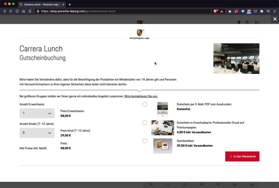 Screenshot der Gutscheinbuchung im Onlineshop