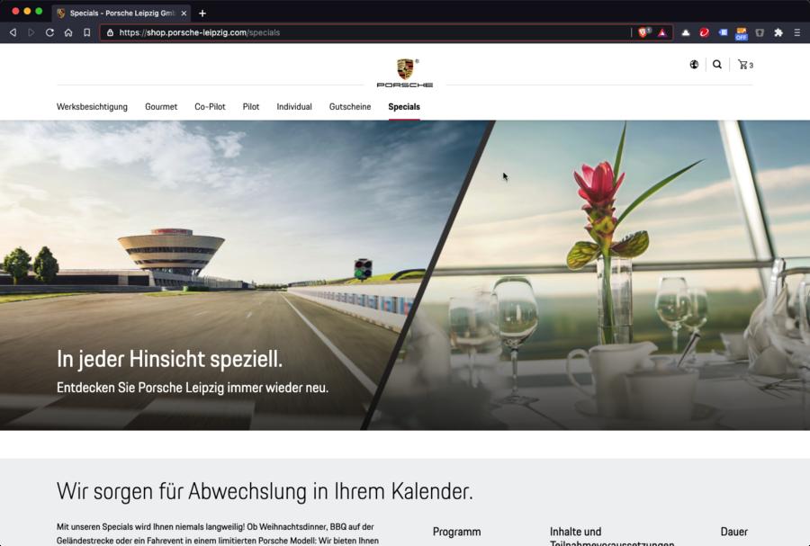 """Screenshot der Ansicht """"Specials"""" im Onlineshop"""