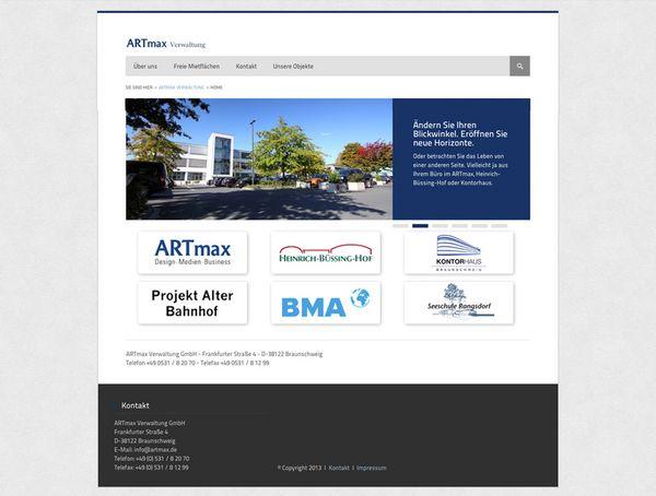Screenshot 1 von der Startseite des Immobilienportals für die ARTmax Verwaltung
