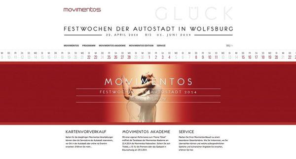 Screenshot der Internetseite zu den Movimentos Festwochen
