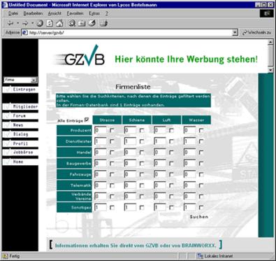 Screenshot 2 Internetauftritt GZVB