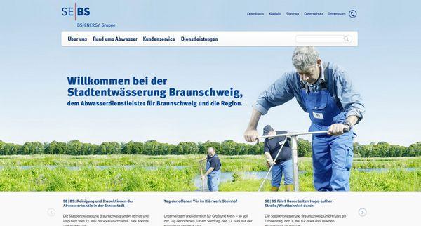 Screenshot von der Internetpräsenz der Stadtentwässerung Braunschweig GmbH