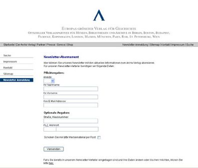 Screenshot 1 Newslettermodul Archiv Verlag