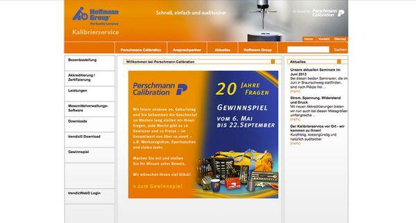 Screenshot vom Teaser für das Online-Gewinnspiel von Perschmann-Calibration