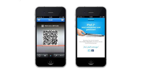 Zwei Darstellungen des QR-Code Gewinnspiels auf dem iPhone