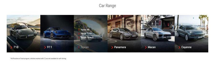 Screenshot der Car Range im Porsche Experience Center