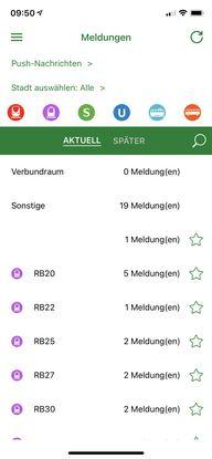 Screenshot der Smartphone-APP