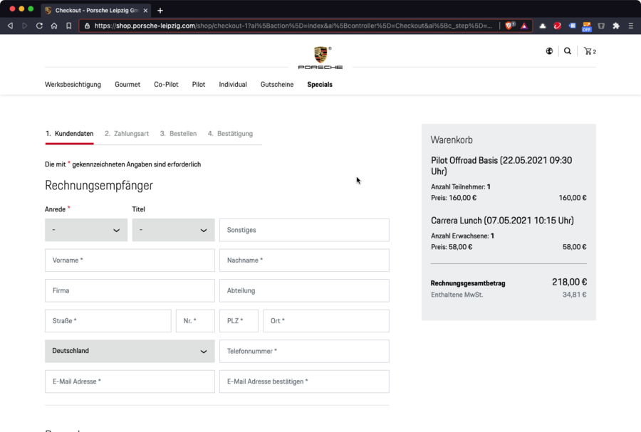 Screenshot des Checkouts im Onlineshop