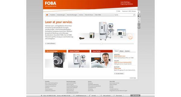 Screenshot der Startseite des Internetauftritts von Foba