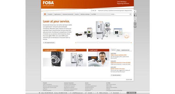 Screenshot der Startseite vom italienischen FOBA Internetauftritt