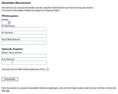 Screenshot 2 Newslettermodul Archiv Verlag