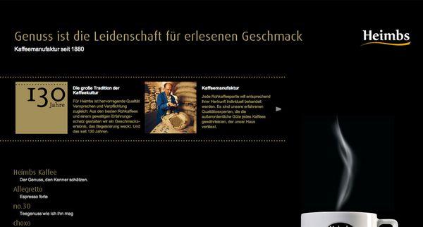Screenshot der Startseite vom Braunschweiger Kaffeespezialisten Heimbs