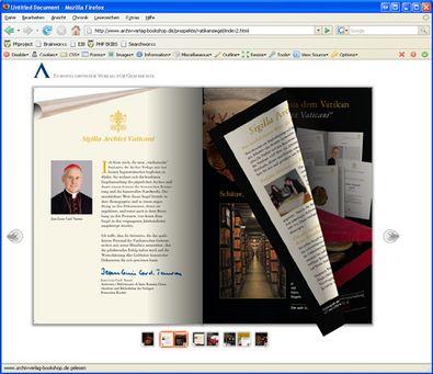 "Screenshot 2 ""Blätterbarer Katalog"" Archiv Verlag"