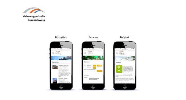 Darstellung von drei mobilen Seiten der Volkswagen Halle auf dem iPhone