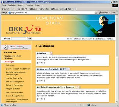 Screenshot 2 vom Relaunch der BKK TUI