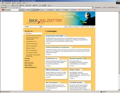 Screenshot 1 vom Internetauftritt der BKK Salzgitter