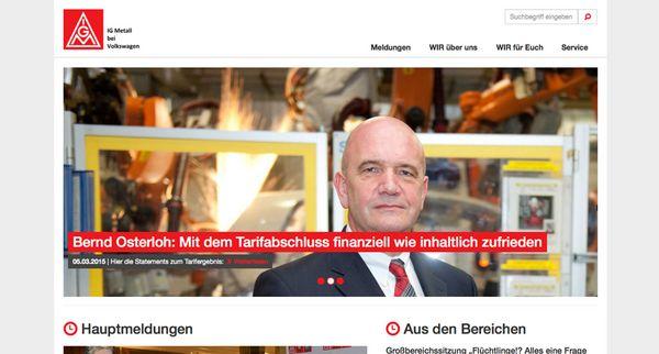 Screenshot der Startseite auf der neuen Website der IG Metall bei Volkswagen