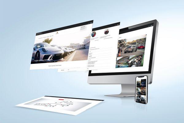 Abbildung eines Rechners mit der Website des Porsche Experience Centers auf dem Bildschirm
