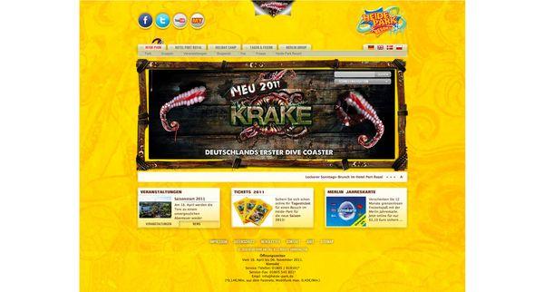 Screenshot von der Startseite der überarbeiteten Heide Park Resort Internetpräsenz