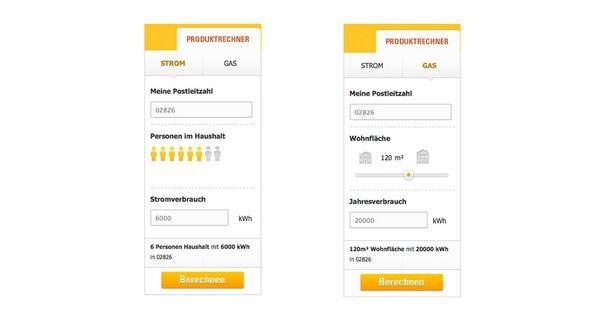 Zwei Screenshots vom für die Stadtwerke Görlitz realisierten Produktrechner