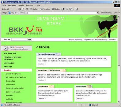 Screenshot 3 vom Relaunch der BKK TUI