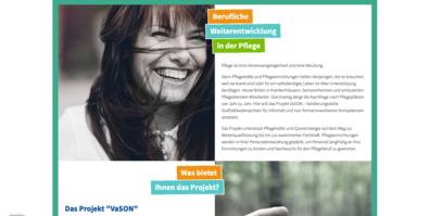 Screenshot einer Unterseite www.ich-pflege-gern.de